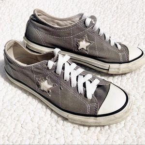 CONVERSE Women's Gray W/ Cut Out Star Canvas Shoe